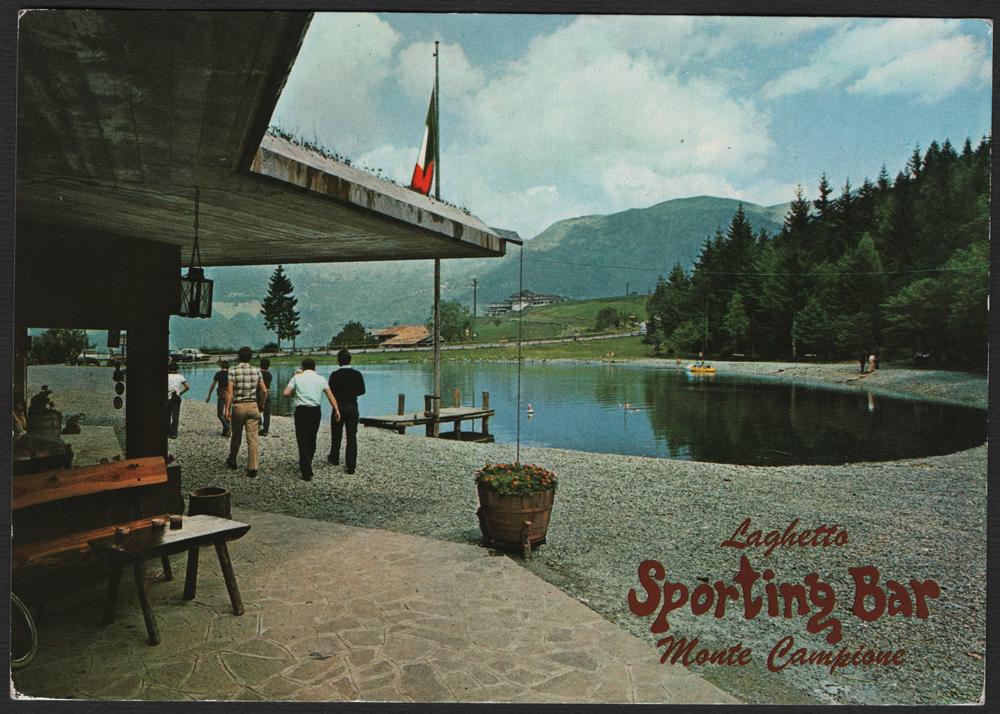 La cartolina del martedì – SPORTING BAR Laghetto M. Campione m. 1200 Valle Camonica (BS) Tel. 0364-55093 edita da Fotoedizioni G. CARMINATI