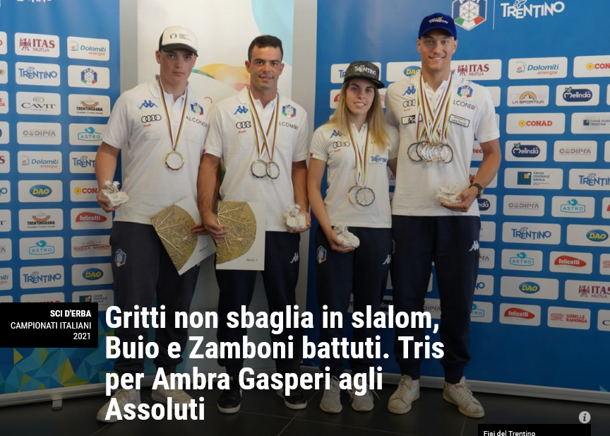 Neveitalia – Gritti non sbaglia in slalom, Buio e Zamboni battuti. Tris per Ambra Gasperi agli Assoluti